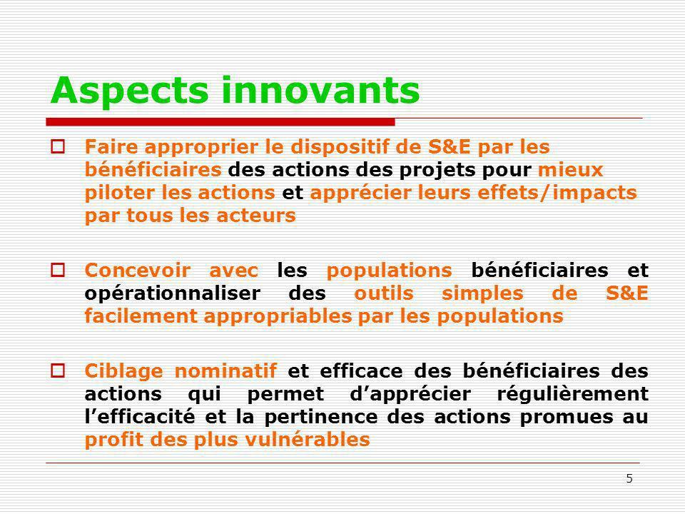5 Aspects innovants Faire approprier le dispositif de S&E par les bénéficiaires des actions des projets pour mieux piloter les actions et apprécier le