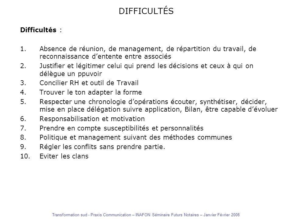 DIFFICULTÉS Difficultés : 1.Absence de réunion, de management, de répartition du travail, de reconnaissance dentente entre associés 2.Justifier et lég