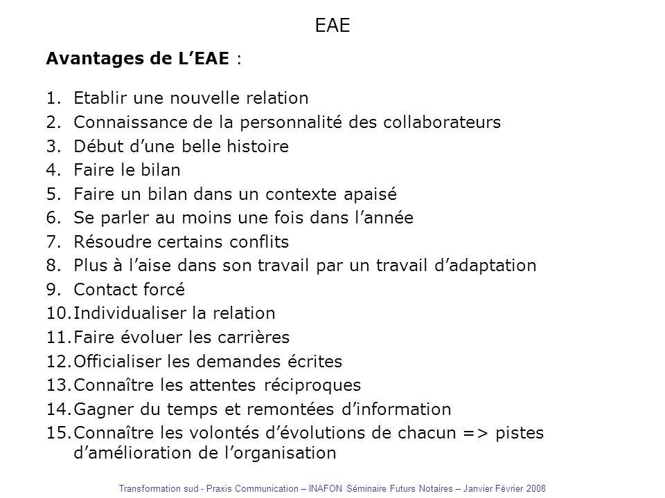 EAE Avantages de LEAE : 1.Etablir une nouvelle relation 2.Connaissance de la personnalité des collaborateurs 3.Début dune belle histoire 4.Faire le bi