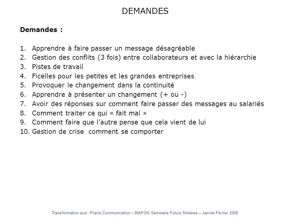 DEMANDES Demandes : 1.Apprendre à faire passer un message désagréable 2.Gestion des conflits (3 fois) entre collaborateurs et avec la hiérarchie 3.Pis
