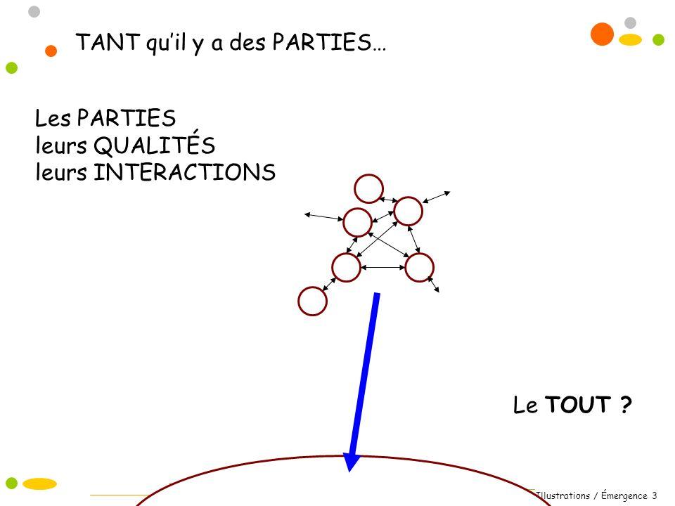 Illustrations / Émergence 3 Les PARTIES leurs QUALITÉS leurs INTERACTIONS Le TOUT ? TANT quil y a des PARTIES…