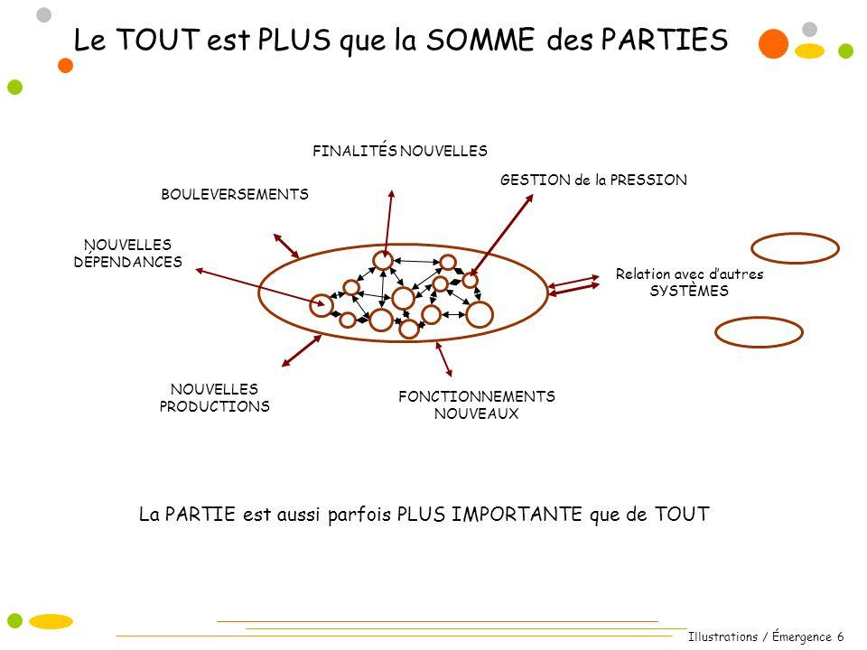 Illustrations / Émergence 6 La PARTIE est aussi parfois PLUS IMPORTANTE que de TOUT Le TOUT est PLUS que la SOMME des PARTIES Relation avec dautres SY