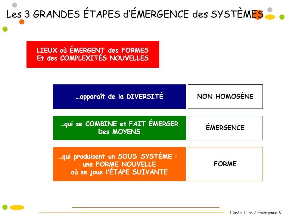 Illustrations / Émergence 9 Les 3 GRANDES ÉTAPES dÉMERGENCE des SYSTÈMES LIEUX où ÉMERGENT des FORMES Et des COMPLEXITÉS NOUVELLES …qui produisent un