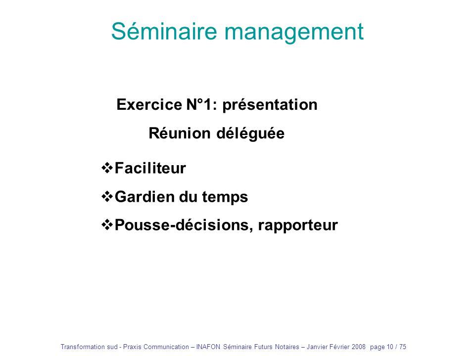 Transformation sud - Praxis Communication – INAFON Séminaire Futurs Notaires – Janvier Février 2008 page 9 / 75 Séminaire management La communication…