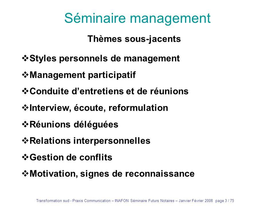 Transformation sud - Praxis Communication – INAFON Séminaire Futurs Notaires – Janvier Février 2008 page 2 / 75 Séminaire management Exposés « magistr