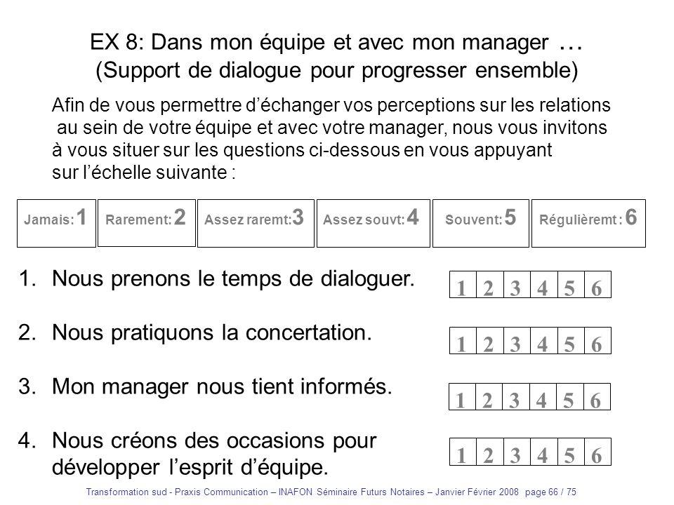 Transformation sud - Praxis Communication – INAFON Séminaire Futurs Notaires – Janvier Février 2008 page 65 / 75 Entretien dajustement réciproque 1.Et