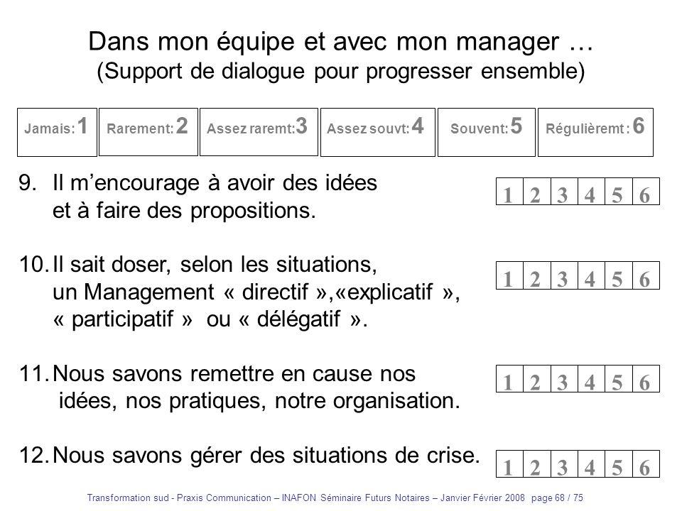 Transformation sud - Praxis Communication – INAFON Séminaire Futurs Notaires – Janvier Février 2008 page 67 / 75 Dans mon équipe et avec mon manager …