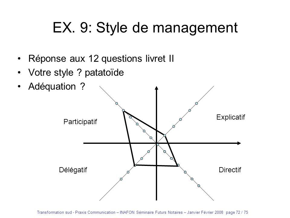 Transformation sud - Praxis Communication – INAFON Séminaire Futurs Notaires – Janvier Février 2008 page 71 / 75 EX. 9: Style de management Réponse au