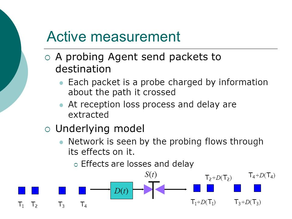 Active measurement A probing Agent send packets to destination Each packet is a probe charged by information about the path it crossed At reception lo