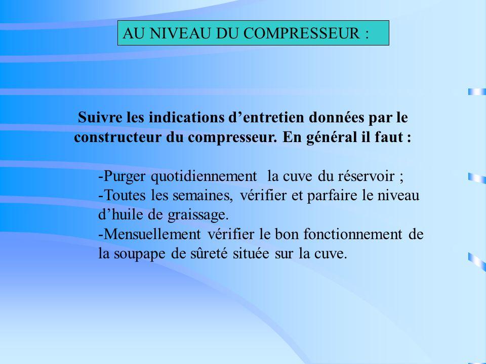 Suivre les indications dentretien données par le constructeur du compresseur. En général il faut : -Purger quotidiennement la cuve du réservoir ; -Tou