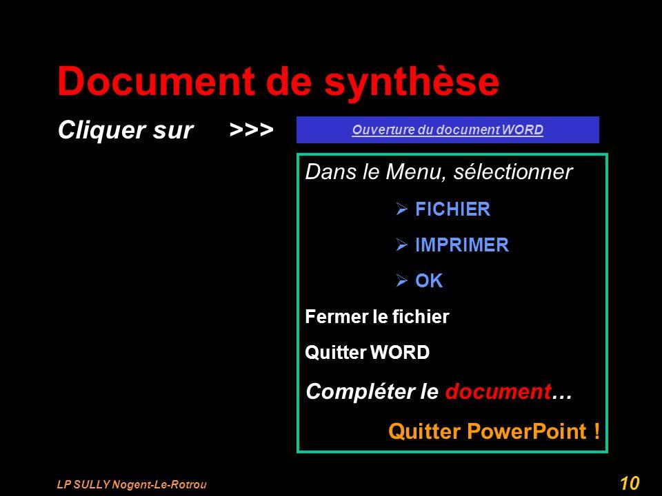 LP SULLY Nogent-Le-Rotrou 10 Document de synthèse Cliquer sur >>> Ouverture du document WORD Dans le Menu, sélectionner FICHIER IMPRIMER OK Fermer le