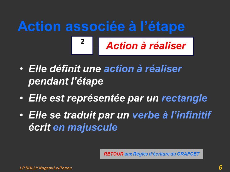 LP SULLY Nogent-Le-Rotrou 6 Action associée à létape Elle définit une action à réaliser pendant létape Elle est représentée par un rectangle Elle se t