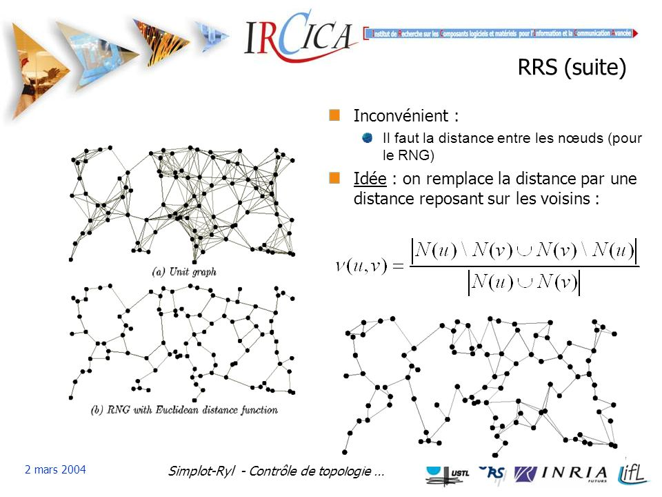 Simplot-Ryl - Contrôle de topologie … 2 mars 2004 RRS (suite) Inconvénient : Il faut la distance entre les nœuds (pour le RNG) Idée : on remplace la distance par une distance reposant sur les voisins :