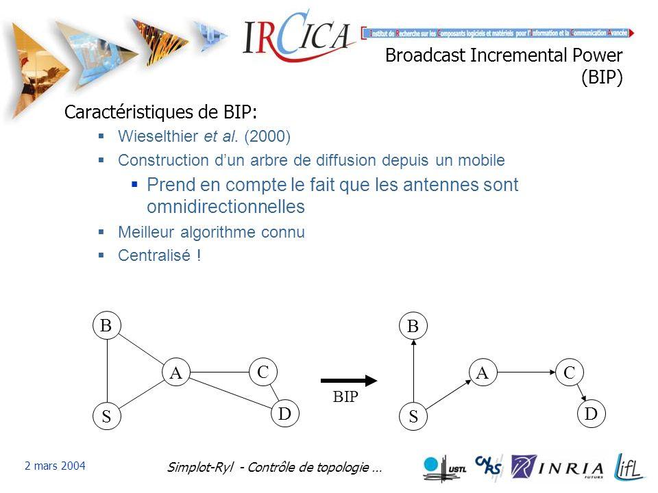 Simplot-Ryl - Contrôle de topologie … 2 mars 2004 Broadcast Incremental Power (BIP) Caractéristiques de BIP: Wieselthier et al.