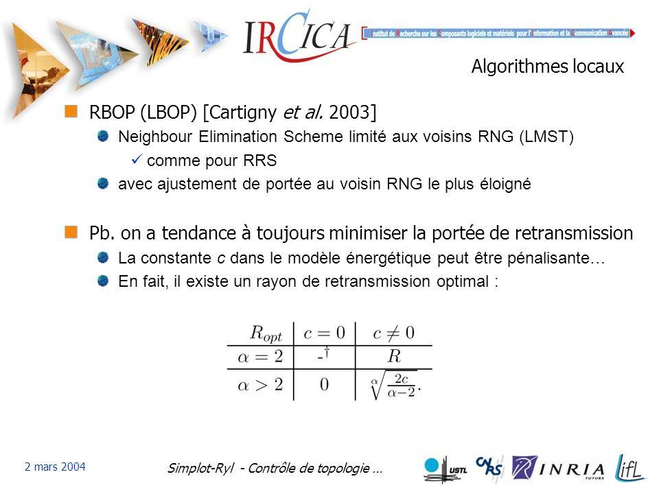 Simplot-Ryl - Contrôle de topologie … 2 mars 2004 Algorithmes locaux RBOP (LBOP) [Cartigny et al.