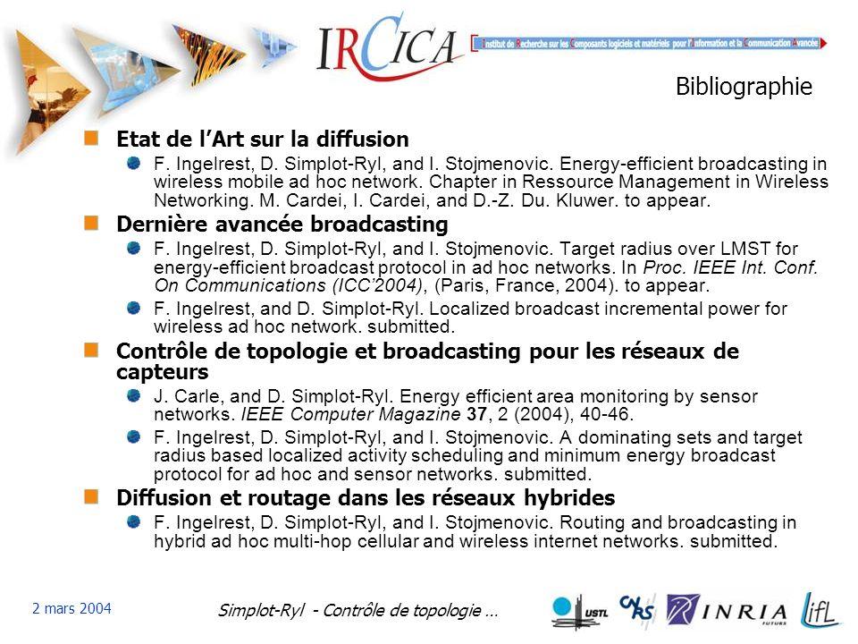 Simplot-Ryl - Contrôle de topologie … 2 mars 2004 Bibliographie Etat de lArt sur la diffusion F.