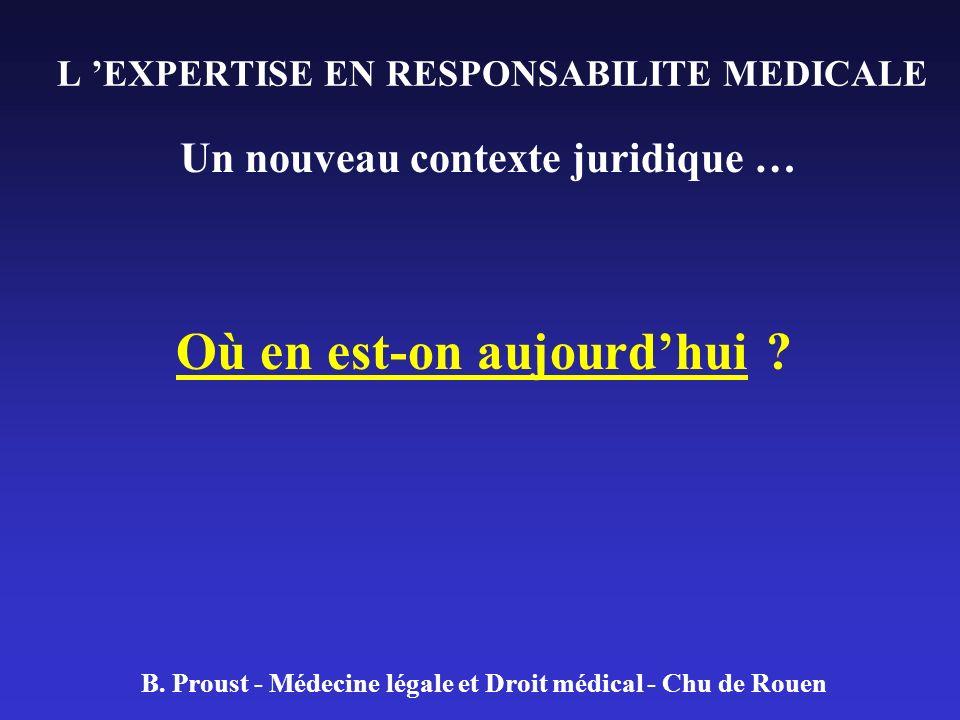 L EXPERTISE EN RESPONSABILITE MEDICALE Un nouveau contexte juridique … Où en est-on aujourdhui ? B. Proust - Médecine légale et Droit médical - Chu de
