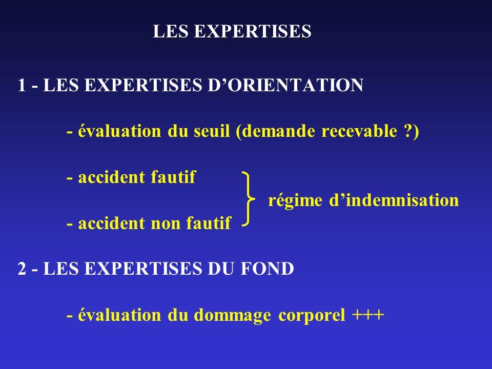 1 - LES EXPERTISES DORIENTATION - évaluation du seuil (demande recevable ?) - accident fautif régime dindemnisation - accident non fautif 2 - LES EXPE