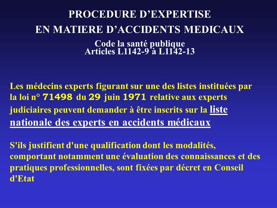 Les médecins experts figurant sur une des listes instituées par la loi n° 71498 du 29 juin 1971 relative aux experts judiciaires peuvent demander à êt