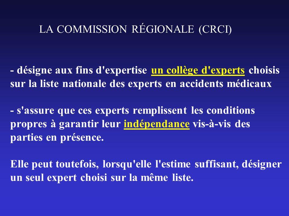 LA COMMISSION RÉGIONALE (CRCI) - désigne aux fins d'expertise un collège d'experts choisis sur la liste nationale des experts en accidents médicaux -