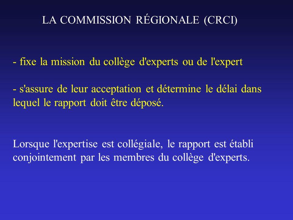 LA COMMISSION RÉGIONALE (CRCI) - fixe la mission du collège d'experts ou de l'expert - s'assure de leur acceptation et détermine le délai dans lequel