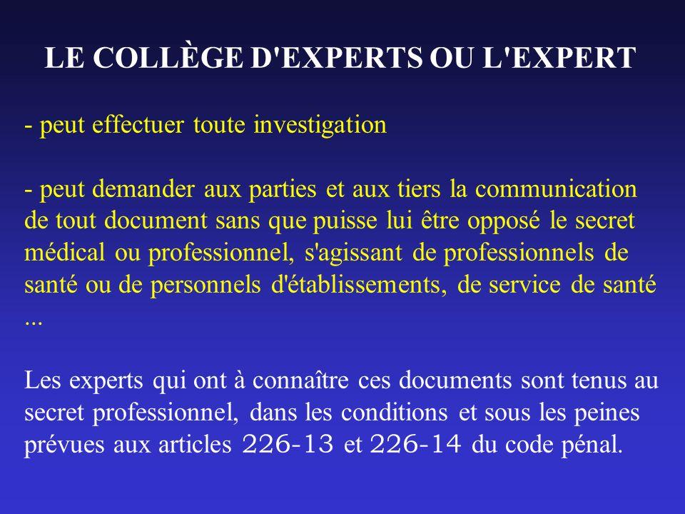 LE COLLÈGE D'EXPERTS OU L'EXPERT - peut effectuer toute investigation - peut demander aux parties et aux tiers la communication de tout document sans