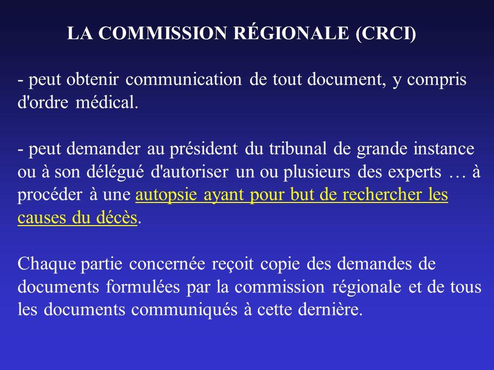 LA COMMISSION RÉGIONALE (CRCI) - peut obtenir communication de tout document, y compris d'ordre médical. - peut demander au président du tribunal de g