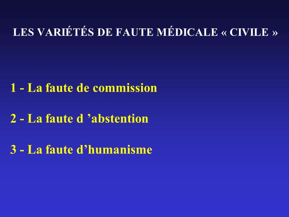 LES VARIÉTÉS DE FAUTE MÉDICALE « CIVILE » 1 - La faute de commission 2 - La faute d abstention 3 - La faute dhumanisme