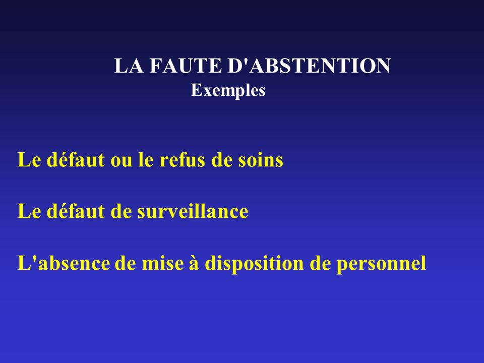 LA FAUTE D'ABSTENTION Exemples Le défaut ou le refus de soins Le défaut de surveillance L'absence de mise à disposition de personnel