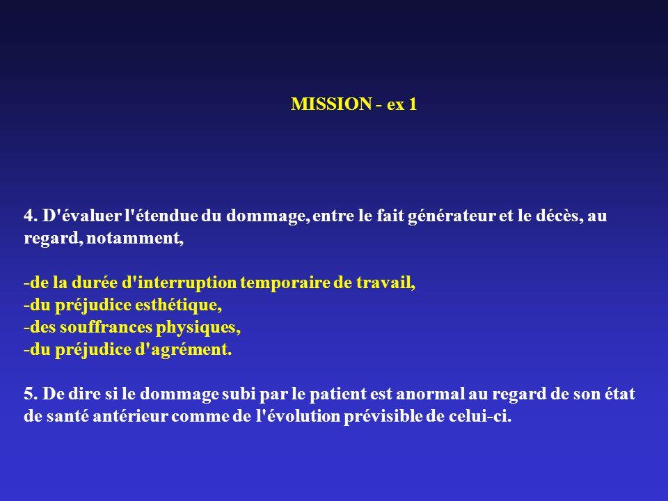 MISSION - ex 1 4. D'évaluer l'étendue du dommage, entre le fait générateur et le décès, au regard, notamment, de la durée d'interruption temporaire de