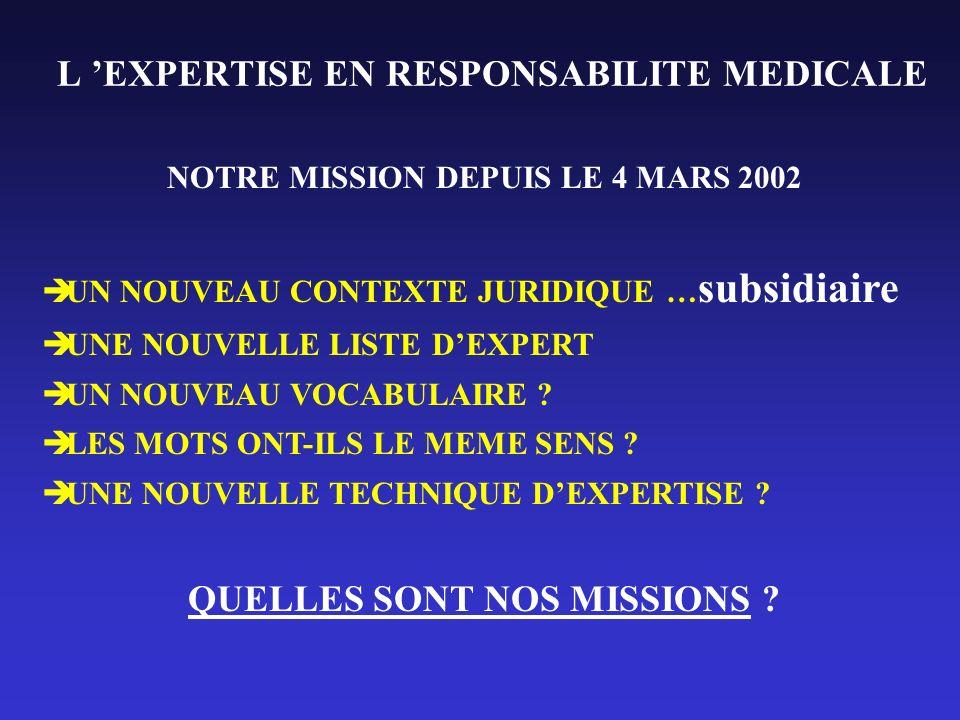 L EXPERTISE EN RESPONSABILITE MEDICALE NOTRE MISSION DEPUIS LE 4 MARS 2002 UN NOUVEAU CONTEXTE JURIDIQUE … subsidiaire UNE NOUVELLE LISTE DEXPERT UN N