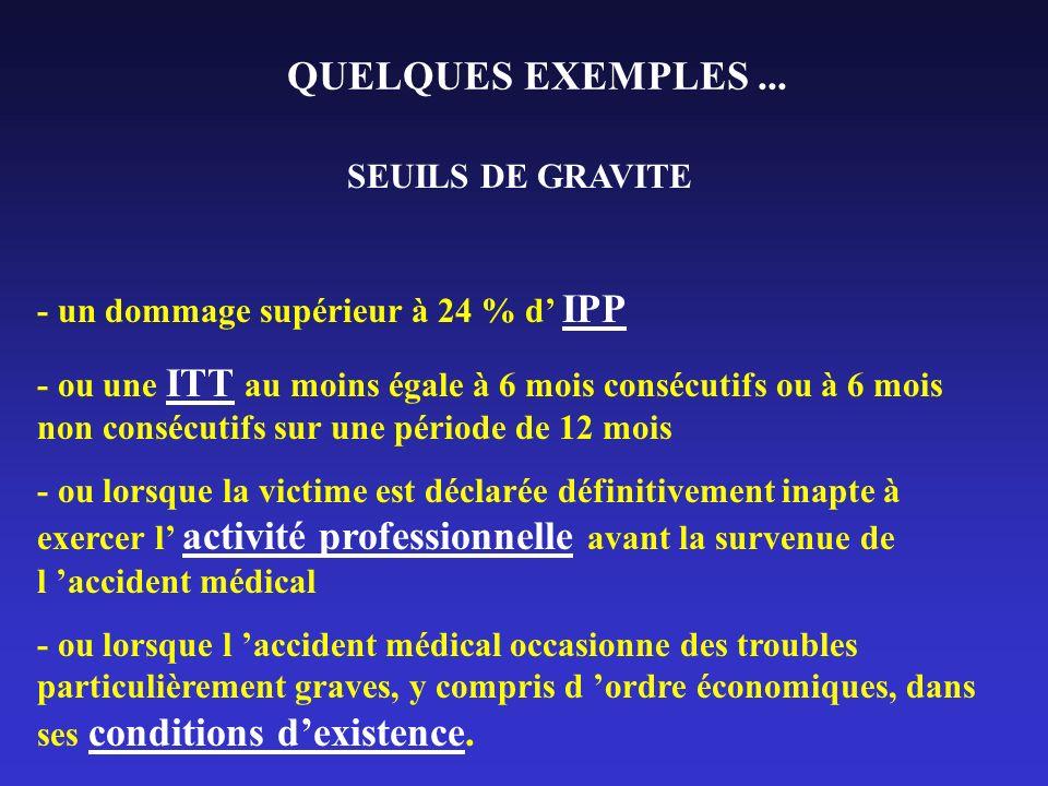 QUELQUES EXEMPLES... SEUILS DE GRAVITE - un dommage supérieur à 24 % d IPP - ou une ITT au moins égale à 6 mois consécutifs ou à 6 mois non consécutif