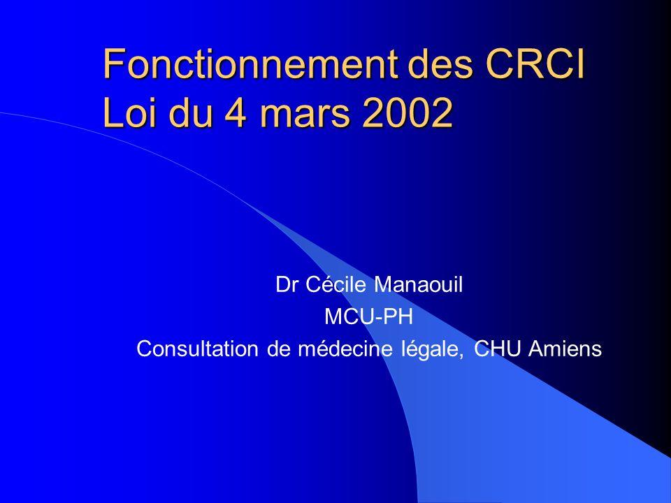 Fonctionnement des CRCI Loi du 4 mars 2002 Dr Cécile Manaouil MCU-PH Consultation de médecine légale, CHU Amiens