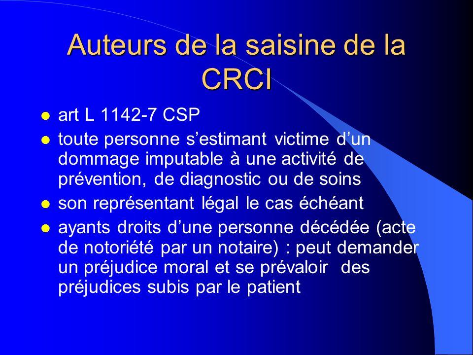 Auteurs de la saisine de la CRCI l art L 1142-7 CSP l toute personne sestimant victime dun dommage imputable à une activité de prévention, de diagnost