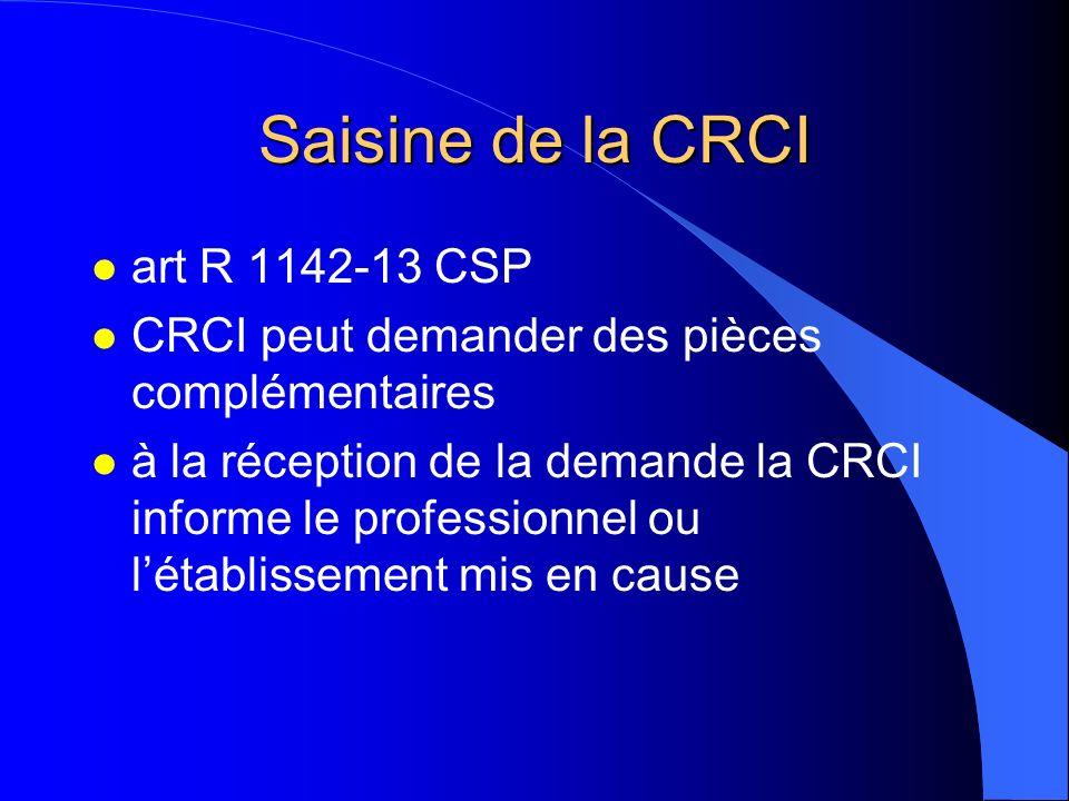 Saisine de la CRCI l art R 1142-13 CSP l CRCI peut demander des pièces complémentaires l à la réception de la demande la CRCI informe le professionnel