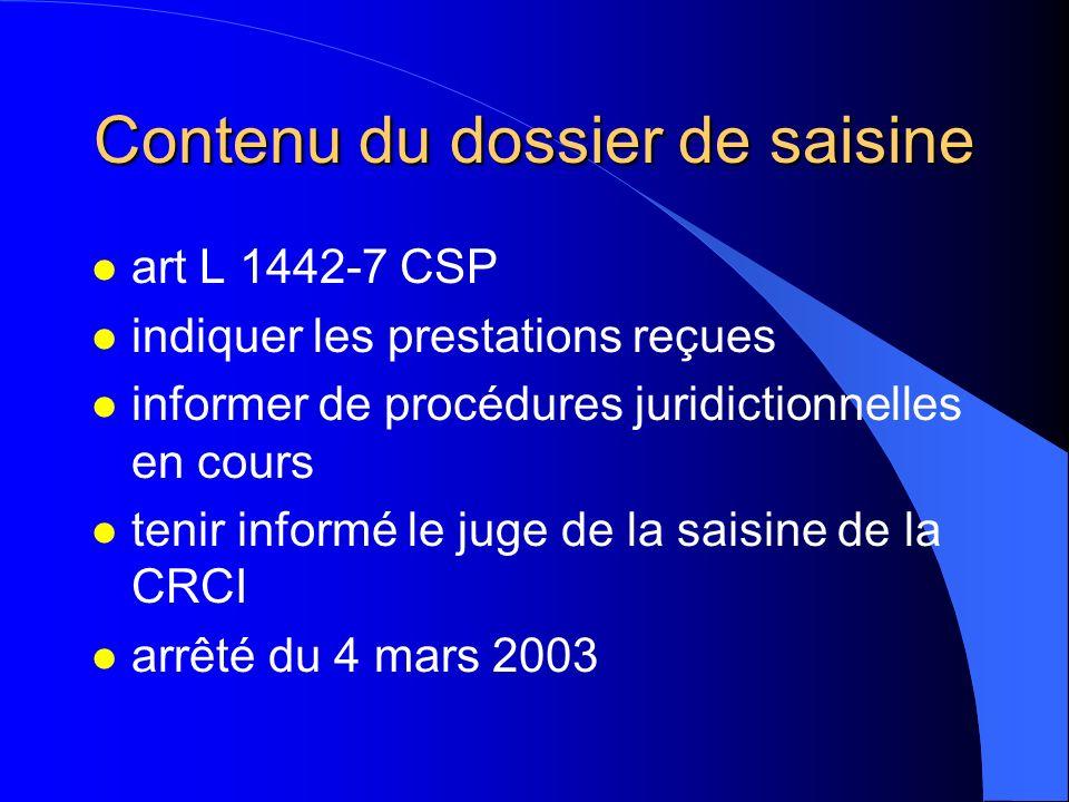 Contenu du dossier de saisine l art L 1442-7 CSP l indiquer les prestations reçues l informer de procédures juridictionnelles en cours l tenir informé