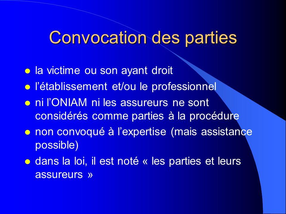 Convocation des parties l la victime ou son ayant droit l létablissement et/ou le professionnel l ni lONIAM ni les assureurs ne sont considérés comme