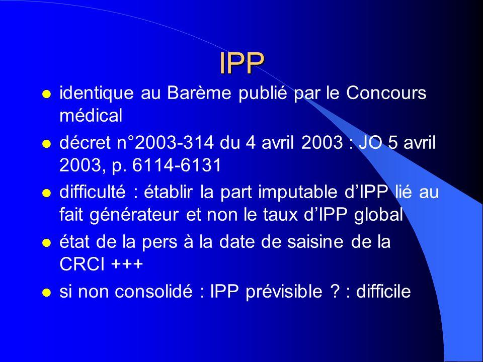 IPP l identique au Barème publié par le Concours médical l décret n°2003-314 du 4 avril 2003 : JO 5 avril 2003, p. 6114-6131 l difficulté : établir la