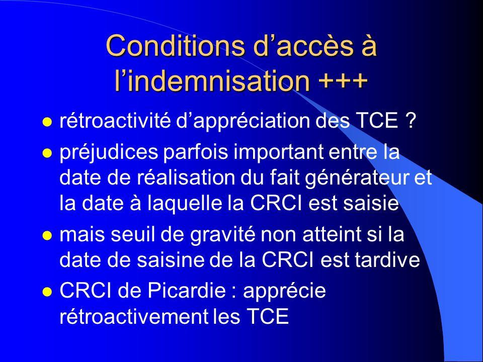 Conditions daccès à lindemnisation +++ l rétroactivité dappréciation des TCE ? l préjudices parfois important entre la date de réalisation du fait gén