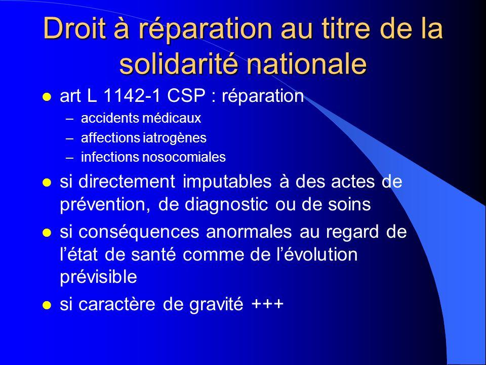 Droit à réparation au titre de la solidarité nationale l art L 1142-1 CSP : réparation –accidents médicaux –affections iatrogènes –infections nosocomi