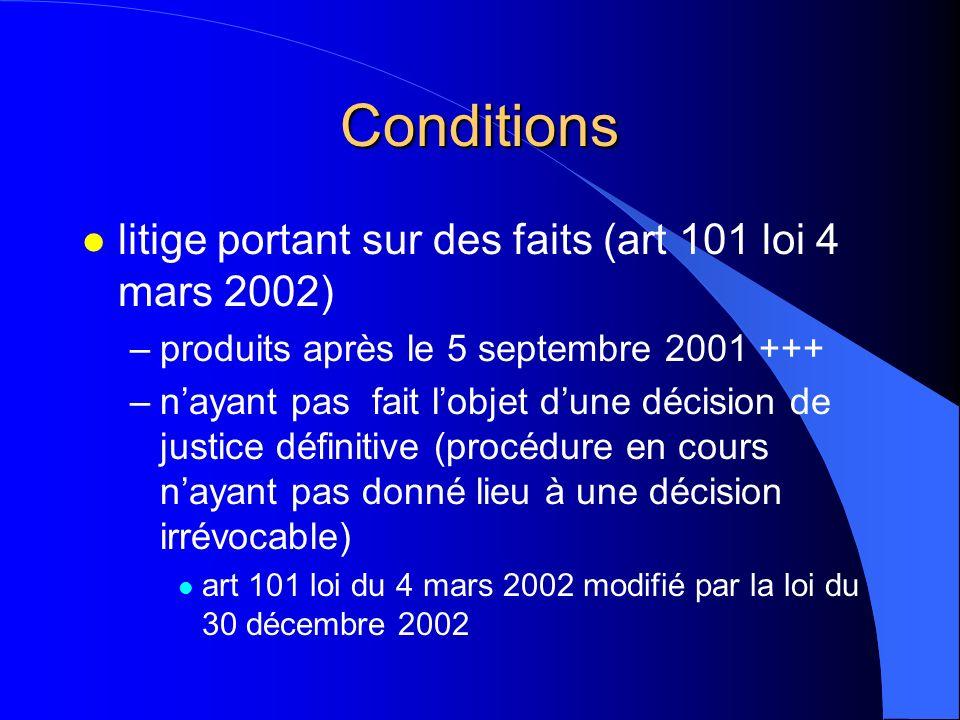 Conditions l litige portant sur des faits (art 101 loi 4 mars 2002) –produits après le 5 septembre 2001 +++ –nayant pas fait lobjet dune décision de j