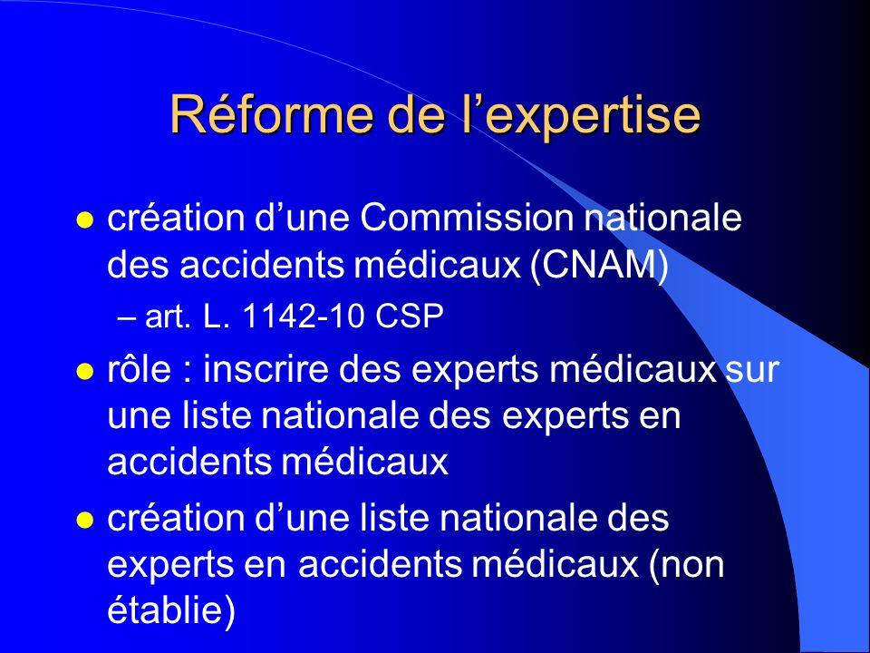 Réforme de lexpertise l création dune Commission nationale des accidents médicaux (CNAM) –art. L. 1142-10 CSP l rôle : inscrire des experts médicaux s