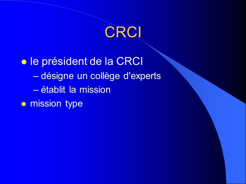 CRCI l le président de la CRCI –désigne un collège d'experts –établit la mission l mission type