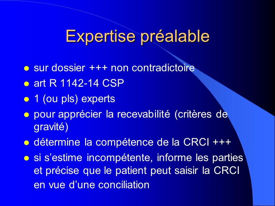 Expertise préalable l sur dossier +++ non contradictoire l art R 1142-14 CSP l 1 (ou pls) experts l pour apprécier la recevabilité (critères de gravit