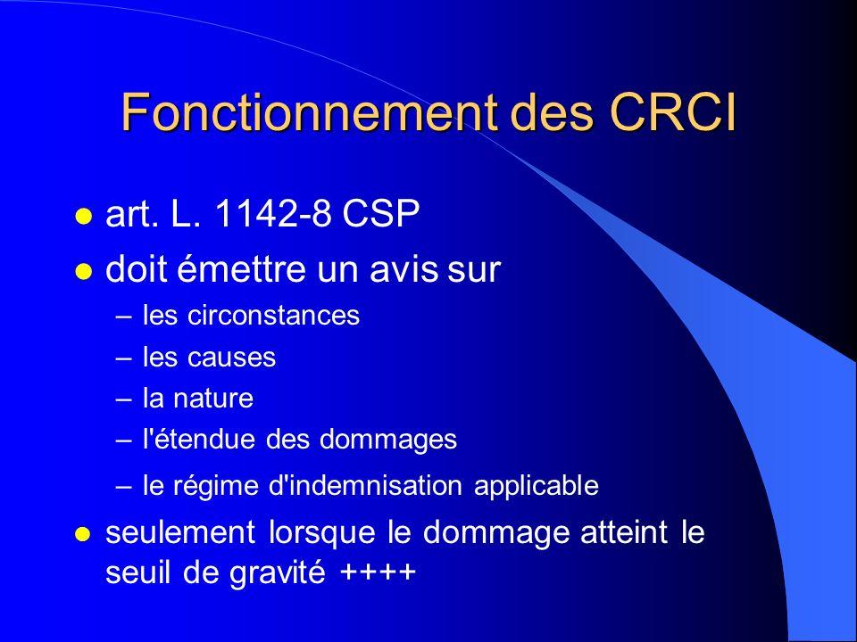 Fonctionnement des CRCI l art. L. 1142-8 CSP l doit émettre un avis sur –les circonstances –les causes –la nature –l'étendue des dommages –le régime d