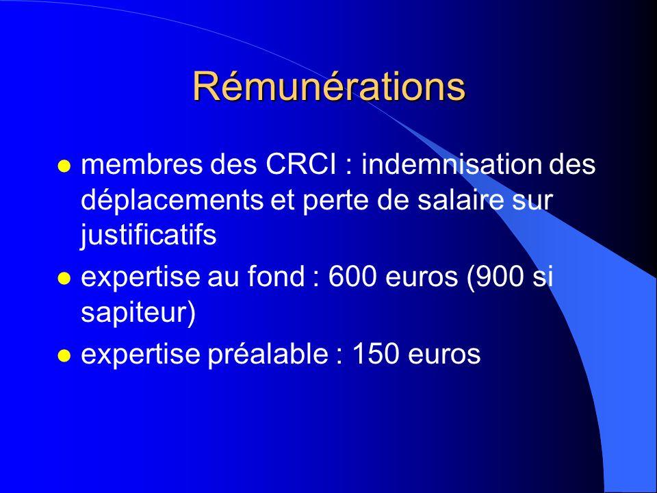 Rémunérations l membres des CRCI : indemnisation des déplacements et perte de salaire sur justificatifs l expertise au fond : 600 euros (900 si sapite