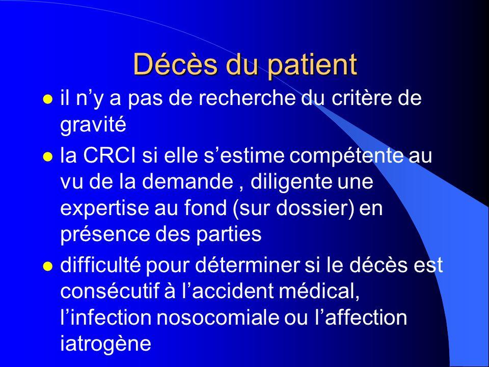 Décès du patient l il ny a pas de recherche du critère de gravité l la CRCI si elle sestime compétente au vu de la demande, diligente une expertise au