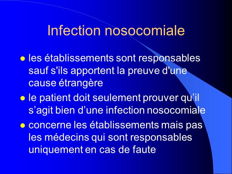 Infection nosocomiale l les établissements sont responsables sauf s'ils apportent la preuve d'une cause étrangère l le patient doit seulement prouver