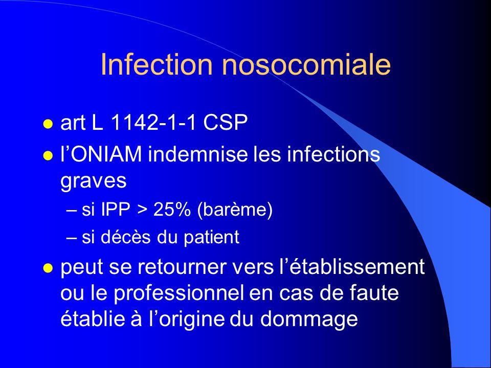 Infection nosocomiale l art L 1142-1-1 CSP l lONIAM indemnise les infections graves –si IPP > 25% (barème) –si décès du patient l peut se retourner ve