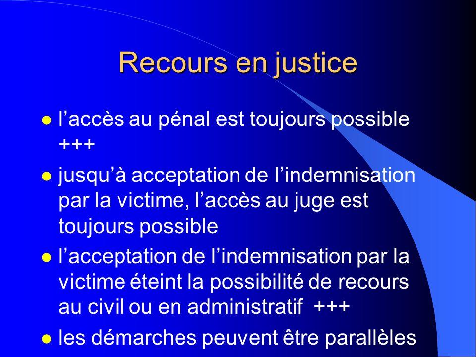 Recours en justice l laccès au pénal est toujours possible +++ l jusquà acceptation de lindemnisation par la victime, laccès au juge est toujours poss